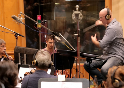 """Alain conducting his score for the feature film """"Mosley"""" in Budapest"""