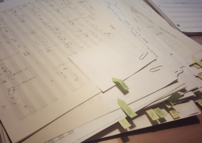 """Pages from the score for the feature film """"Mosley"""" that Alain composed"""